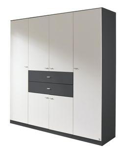 RAUCH AM894_3L14 Kleiderschrank, 6-trg. LANDSBERG in Grau-Metallic/Weiss