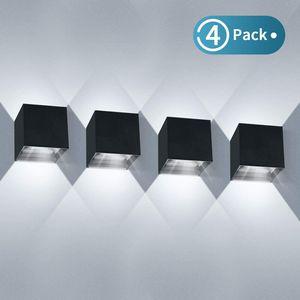 4 Pack 12W LED Wandleuchten Innen/Außen Wandlampe Auf und ab Einstellbarer Lichtstrahl 2700-3000K Kaltweiss
