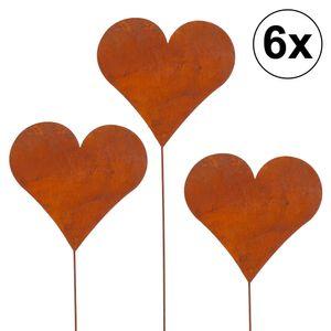 6er Set Gartenstecker Herz im Rost Design, 80cm
