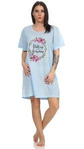 Damen Nachthemd Sleepshirt Nachtwäsche, Blau XL