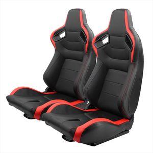 2er-Set Rennsitze PVC-Leder verstellbarer Schalensitz mit Schieberegler, universelle Passform für die meisten Fahrzeuge