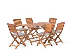 Gartenmöbel Set Braun Akazienholz 6 Personen inkl. Auflagen Terrasse Outdoor Rustikal Landhaus