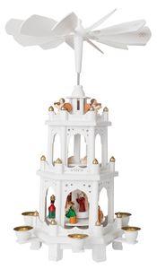 BRUBAKER Weihnachtspyramide Holzpyramide Weiß 3 Etagen 45cm Höhe handbemalte Figuren