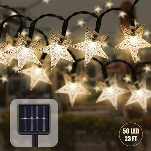 Solar Lichterkette Aussen mit Lichtsensor 7 M 50 LED Wasserdicht Lichterkette Sterne Kristallbälle Weihnachtsbeleuchtung Dekoration für Garten Bäume Partys Innen und Außen (Gelb)