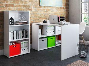 "Büro-Kombi mit Regal Komplettset Büroprogramm Arbeitsplatz Büromöbel ""Trio 3"" Weiß"