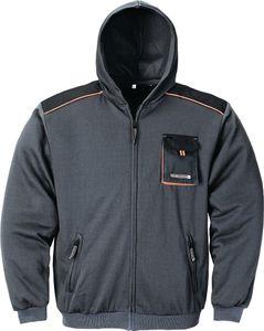 Herrensweatjacke Gr.L dunkelgrau/schwarz/orange 100%CO m.Kapuze