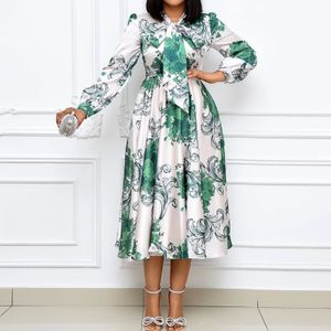 Vintage Frauen Midi Kleid Elastische Hohe Taille Lange Puff aermel Schleife Blumendruck Rueschen Kleid