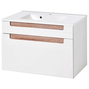Kompakter Waschtisch 80cm MERANO-03 Hochglanz weiß, Eiche Sonoma, B x H x T ca.: 80 x 54 x 47 cm
