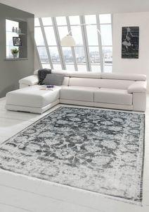 Vintage Teppich modern Wohnzimmerteppich Designteppich mit Fransen in Grau Größe - 200 x 290 cm