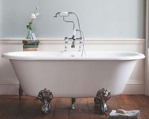 Casa Padrino Jugendstil Badewanne Naturstein freistehend 1700mm BBlan Weiß - Freistehende Retro Antik Badewanne, Badewannen Füsse:Standard Traditional Weiß