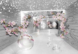 Fototapete 3D Magischer Tunnel (368x254cm - 4 Bahnen) Blumen Holz Modern Abstrakt Wohnzimmer Schlafzimmer Wandtapete Tapete Latexdruck UV-Beständig Geruchsfrei Hohe Auflösung Montagefertig