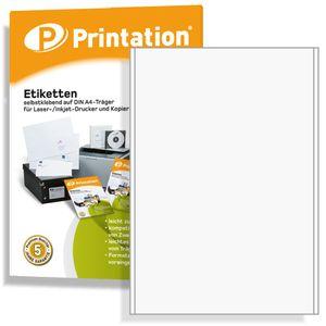 Printation Universal Etiketten 100 Labels 200 x 297 mm (DIN A4) selbstklebend weiß bedruckbar - 100 A4 Bogen á 1x1 200x297 Aufkleber - 4458 3418 3478