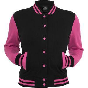Urban Classics Ladies 2-Tone College Sweatjacket, Größe: L; Farbe: Black/Fuchsia