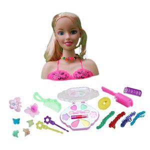 Mädchen Make Up Set Puppe Styling Kopf mit Kosmetik und Accessoires Spielset B 27x10x23cm Mehrfarbig