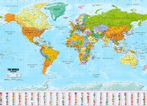 Weltkarte XXL Poster im Riesenformat mit Fahnen & Flaggen -  (140x100cm)