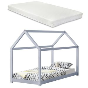 [en.casa] Kinderbett mit Matratze 90x200cm Hellgrau Holz Haus Design Kiefernholz Bett Holzbett Hausbett Kaltschaummatratze  Standard 100 Allergikergeeignet Atmungsaktiv