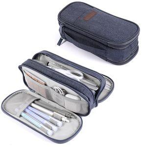Federmäppchen 3 fach Schulmäppchen Große Aufbewahrung Farbe Bleistift Tasche Tragbar für Schule Mädchen Jungen Büro Damen Geschenk - blau