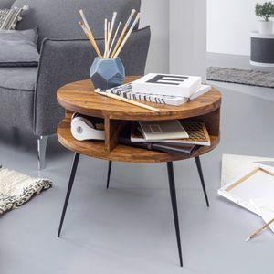 WOHNLING Couchtisch Sheesham Massivholz / Metall 60x45x60 cm Tisch Wohnzimmer | Design Beistelltisch mit Ablage | Kleiner Wohnzimmertisch Rund Braun
