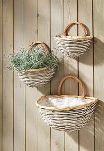 Wandkorb bepflanzbar mit Folie ausgeschlagen Weide Chipwood S/3