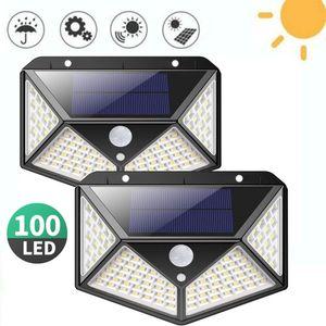 2 Stücke Solarleuchte für Außen 100 LED Solarlampen Außen mit Bewegungsmelder Superhelle Solarlicht 270°Solar Beleuchtung Wasserdichte 3 Modi für Garten