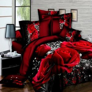NEUFU 4 STÜCKE Bett Set mit 3D Große Rote Rose Floral Bettwäsche sets Hochzeit Bettbezug Blatt Kissenbezüge