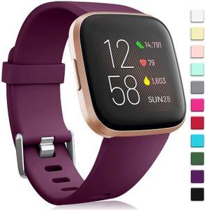 Für Fitbit Versa 2 Armband/Fitbit Versa Armband, Silikon Sport Klassisch Ersatzarmband Armbänder Kompatibel mit Fitbit Versa Lite/Fitbit Versa 2/Fitbit Versa für Frauen Männer,Groß Fushia
