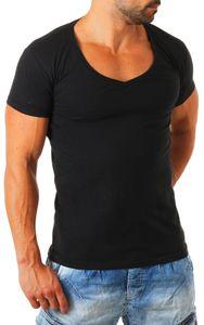Young & Rich / Rerock Herren Uni T-Shirt mit extra tiefem V-Ausschnitt slimfit deep V-Neck stretch dehnbar einfarbiges Basic Shirt , Grösse:M, Farbe:Schwarz