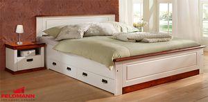 Doppelbett Bett Landhaus 140x200cm weiß / kirschbaum  Kiefer Massivholz