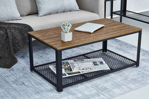Meerveil Couchtisch Retro, Beistelltisch Kaffeetisch Wohnzimmertisch im Industrie-Design, Holzformgestaltung mit großer Ablage, Braun