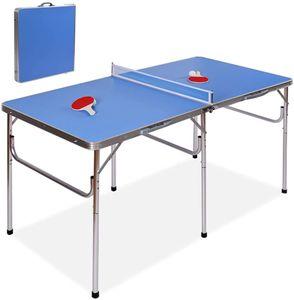 Tischtennis Platte Klappbar, Tischtennisplatte Tisch für Tischtennis mit 2 Schlaeger, 2 Baelle sowie 1 Netz, Tischtennis Plattte für Outdoor und Indoor