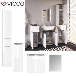 VICCO Badmöbel-Set OTIS Weiß - Hochschrank Unterschrank Midischrank Spiegel