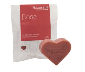 RUCK® Naturseife Herzform 40g - ROSE