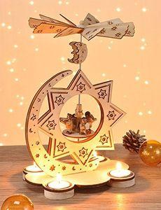 Weihnachtspyramide Holz Teelichter Holzpyramide Weihnachten Krippe Pyramide