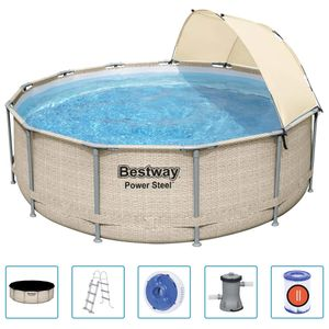 Bestway Power Steel Swimmingpool-Set mit Dach 396x107 cm