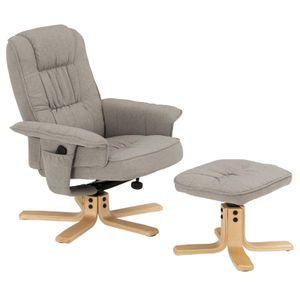 Relaxsessel CHARLY mit Hocker und Stoffbezug in grau