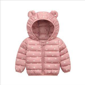 Baby Jungen Mädchen Light Puffer Jacke Cartoon Bär Hoodie Mäntel Winter Daunen Baumwolle Outwear