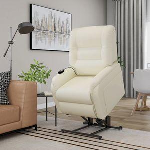 Massage-TV-Sessel mit Aufstehhilfe Elektrisch Creme Kunstleder
