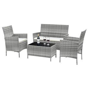4-teilige Gartenmöbel Sitzgruppe Gartenset Lounge Polyrattan Rattan Essgruppe, Farbe:grau/cream