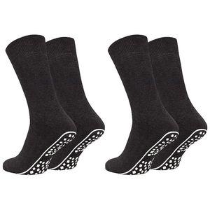 Tobeni 2 Paar Home Socks ABS Stoppersocken Anti-Rutsch Baumwolle Socken für Damen und Herren, Farbe:Anthrazit, Grösse:43-46