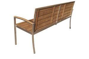 OUTFLEXX stilvolle Bank aus rostfreiem Edelstahl und hellbraunerTeakholz Sitzfläche, 160 x 55 x 80 cm, Gartenbank Outdoorbank Holzbank für 3 Personen in zeitlosem Design, wetterfest, robust