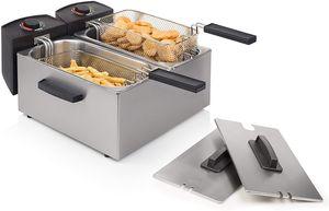 Gastronomie-Friteusen,Edelstahl Doppel-Fritteuse, 2 x 3 Liter (2 x 1800 Watt) mit Kaltzonenfunktion