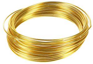 10m Meter Basteldraht 2mm, Schmuckdraht Aludraht Dekodraht Aluminiumdraht rostfreier Draht in Gold