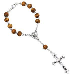 Präsente Geschenkidee - Kurzer Auto Rosenkranz für Damen und Herren mit Kreuz Anhänger Marienbild und Glas Perlen Farbe Weiß (Länge 18cm)