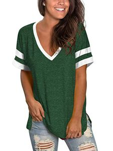 Frauen's lässig T-Shirt V-neck Kurzärmel genäht Top split hem,Farbe: Türkis,Größe:L