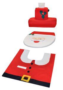Badezimmer Set Weihnachtsmann Dekoration  Toilettenmatte Toilettenbezug WC 4789