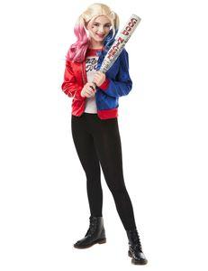 Harley-Quinn-Jacke und T-Shirt für Jugendliche rot-blau