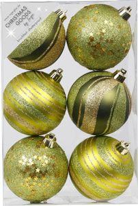 Weihnachtskugeln Muster Mix Kunststoff 8cm, 6er Set, Farbe:Olive Green-Mix - olivgrün