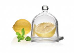 Glasglocke Zitronenglocke mit Unterteller aus Glas Massiv Käseglocke Zitronenbehälter klein