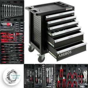 AREBOS Werkzeugwagen Werkstattwagen 6 Fächer 4 Fächer gefüllt Werkzeugschrank