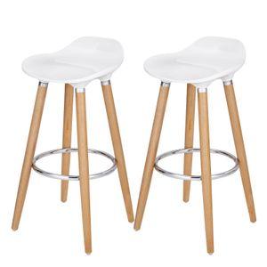 SONGMICS Barhocker 2er-Set Sitzhöhe 73cm Beine aus Buche Sitzschale aus Kunststoff Tresenhocker LJB20W